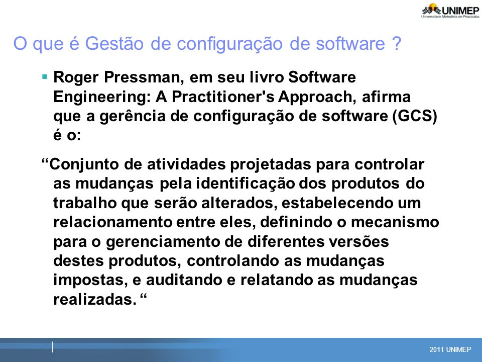 O que é Gestão de configuração de software