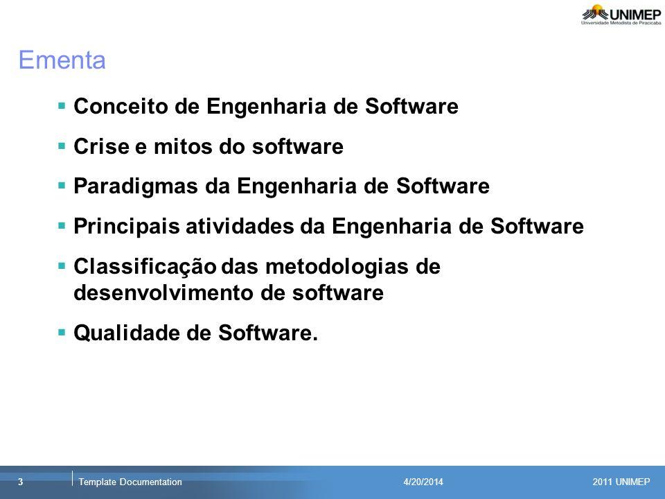 Ementa Conceito de Engenharia de Software Crise e mitos do software