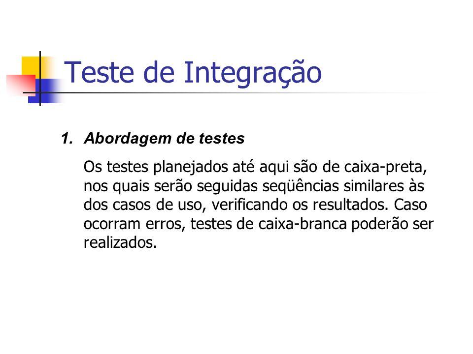Teste de Integração Abordagem de testes