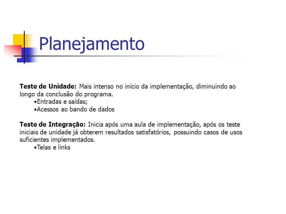 Planejamento Teste de Unidade: Mais intenso no início da implementação, diminuindo ao longo da conclusão do programa.