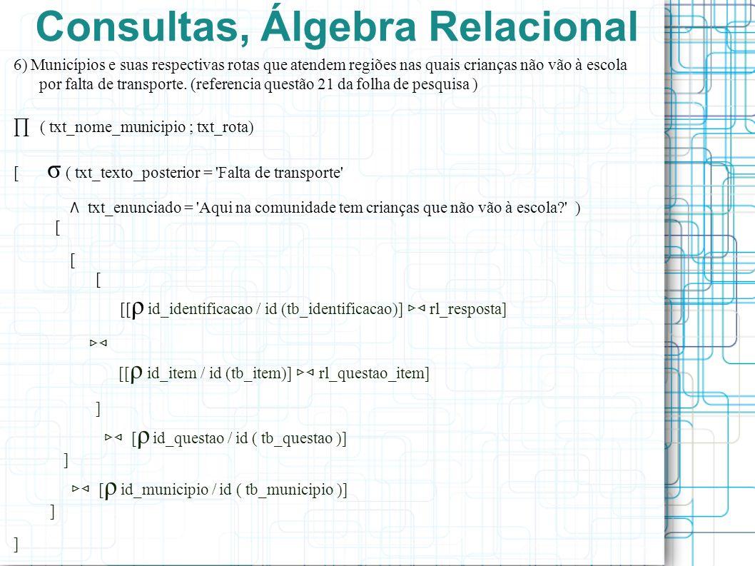 Consultas, Álgebra Relacional