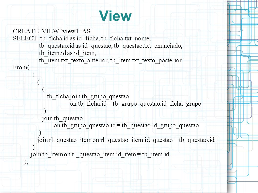 View CREATE VIEW `view1` AS