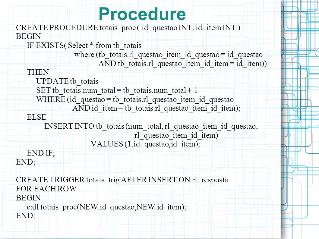 Procedure CREATE PROCEDURE totais_proc ( id_questao INT, id_item INT )