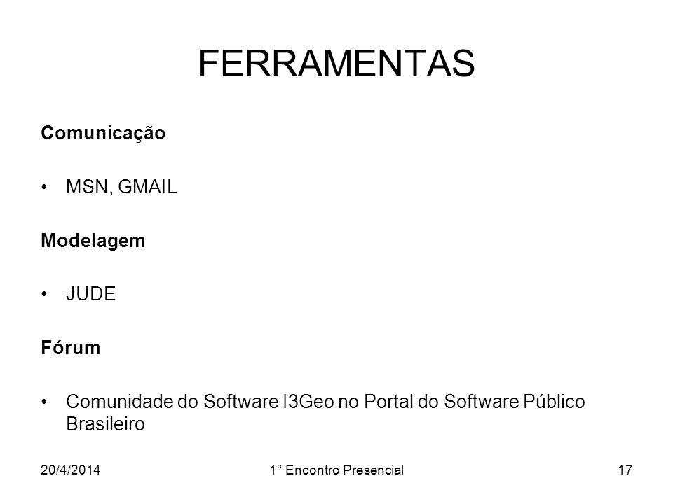 FERRAMENTAS Comunicação MSN, GMAIL Modelagem JUDE Fórum