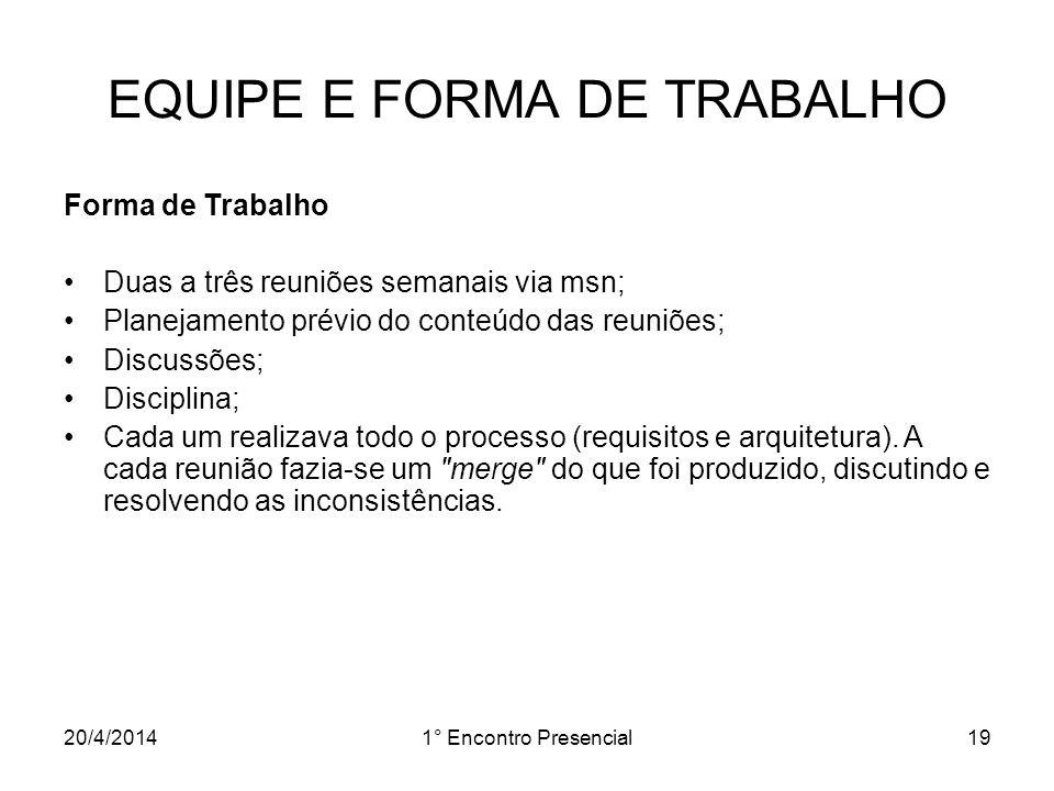 EQUIPE E FORMA DE TRABALHO