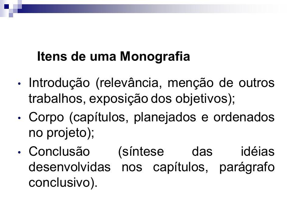 Itens de uma Monografia