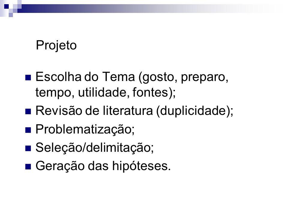Projeto Escolha do Tema (gosto, preparo, tempo, utilidade, fontes); Revisão de literatura (duplicidade);