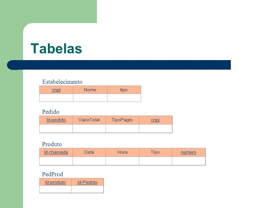 Tabelas Estabelecimento Pedido Produto PedProd cnpj Nome tipo