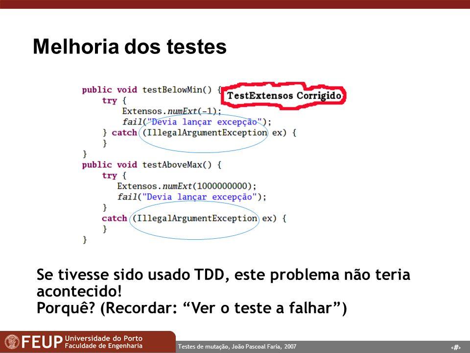 Melhoria dos testes Se tivesse sido usado TDD, este problema não teria acontecido.