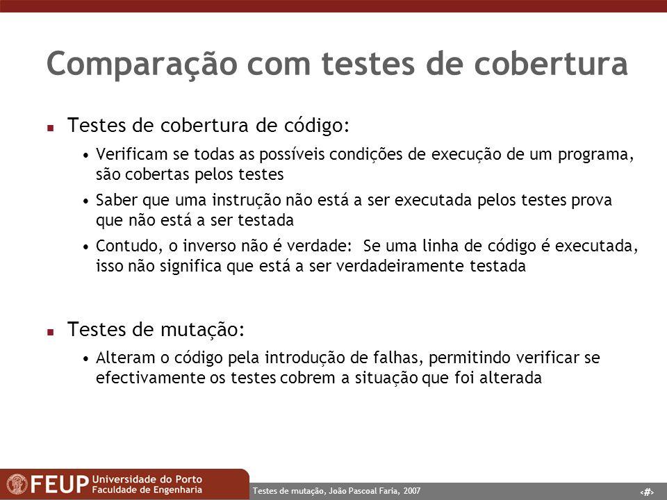Comparação com testes de cobertura