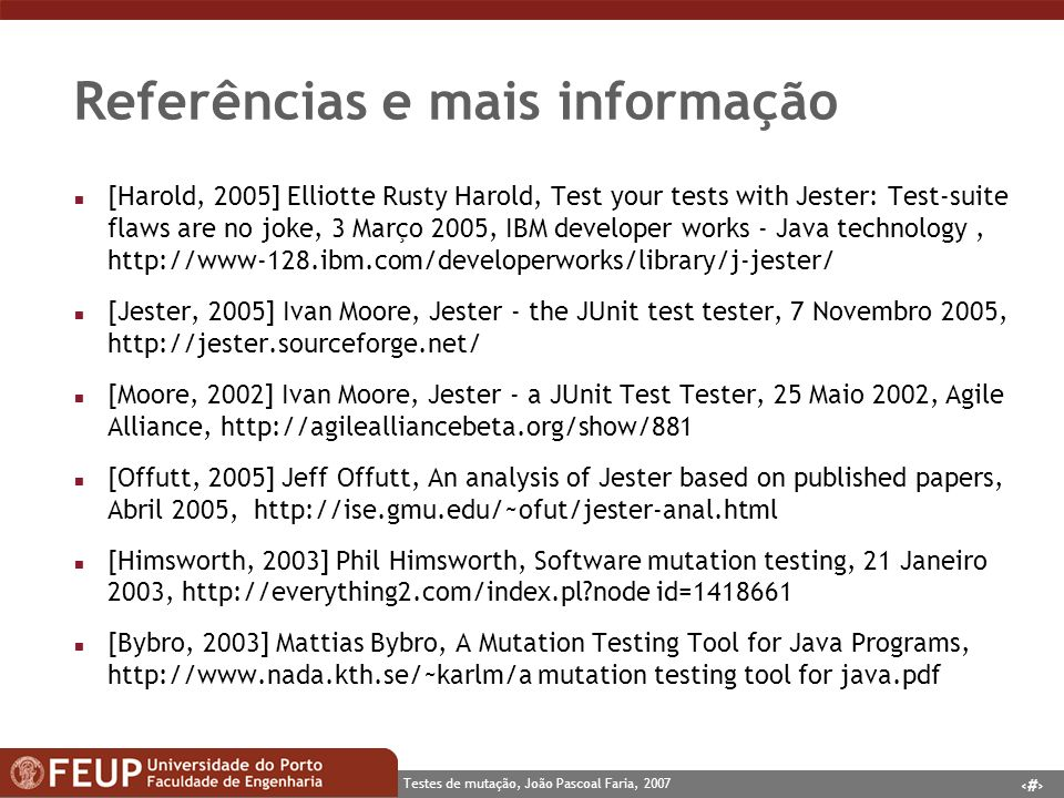 Referências e mais informação