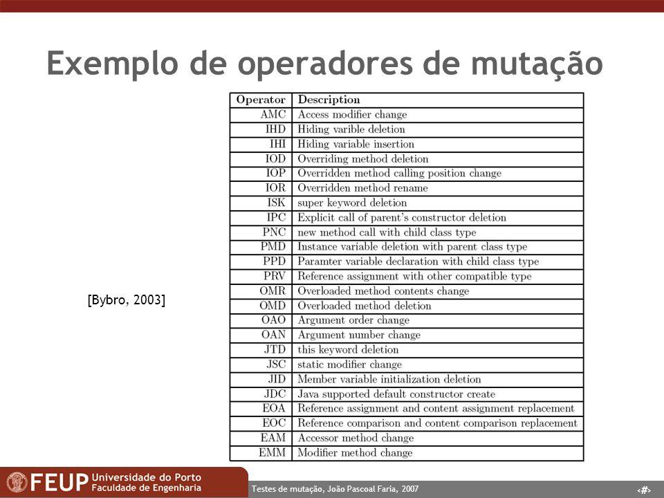 Exemplo de operadores de mutação
