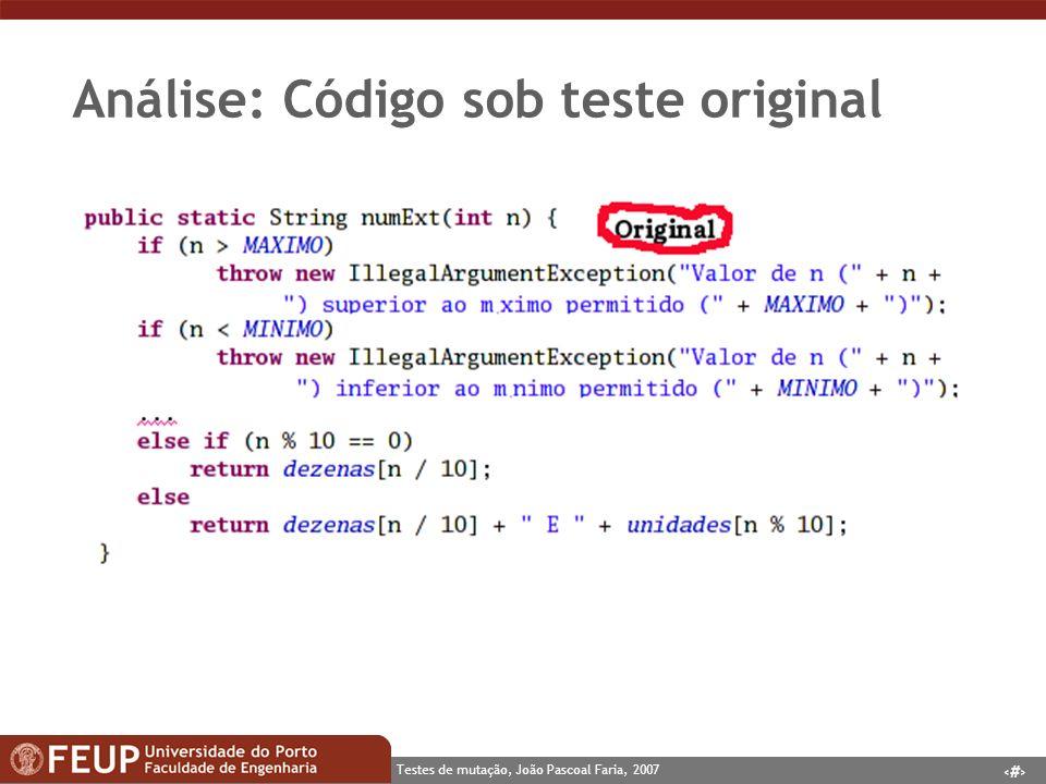 Análise: Código sob teste original