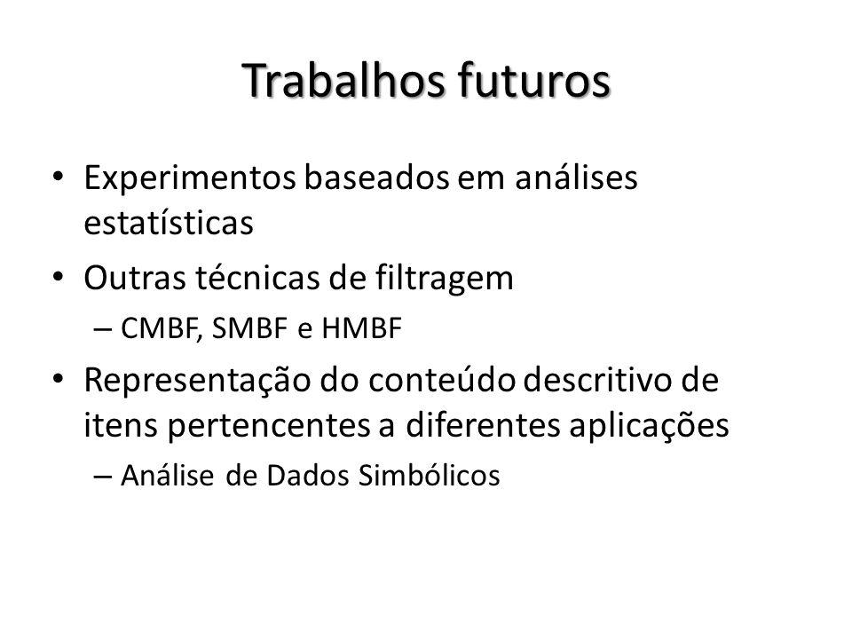 Trabalhos futuros Experimentos baseados em análises estatísticas