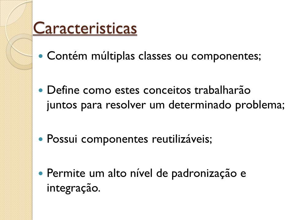 Caracteristicas Contém múltiplas classes ou componentes;