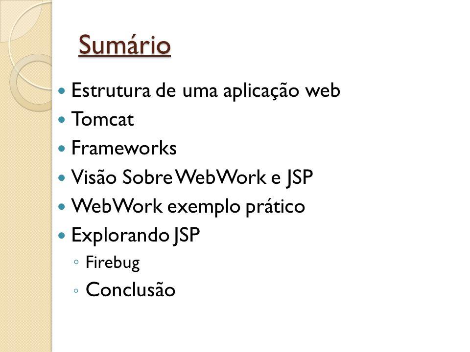 Sumário Estrutura de uma aplicação web Tomcat Frameworks