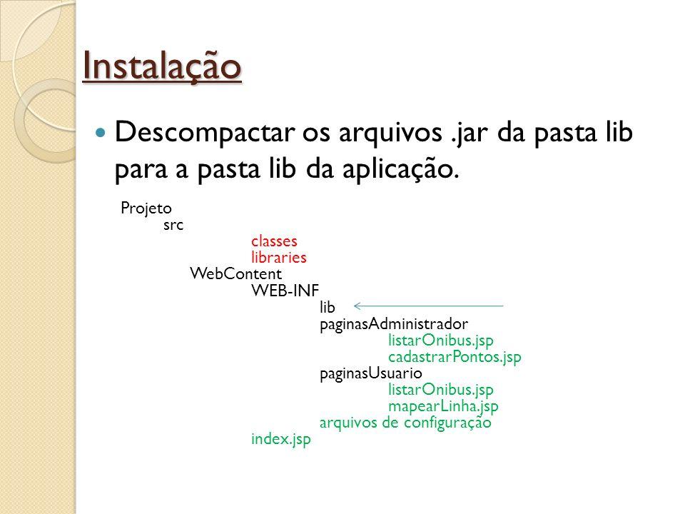 Instalação Descompactar os arquivos .jar da pasta lib para a pasta lib da aplicação. Projeto. src.