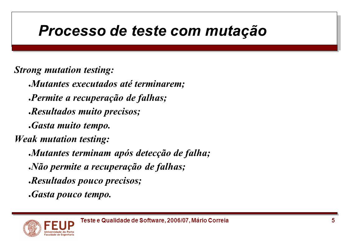 Processo de teste com mutação