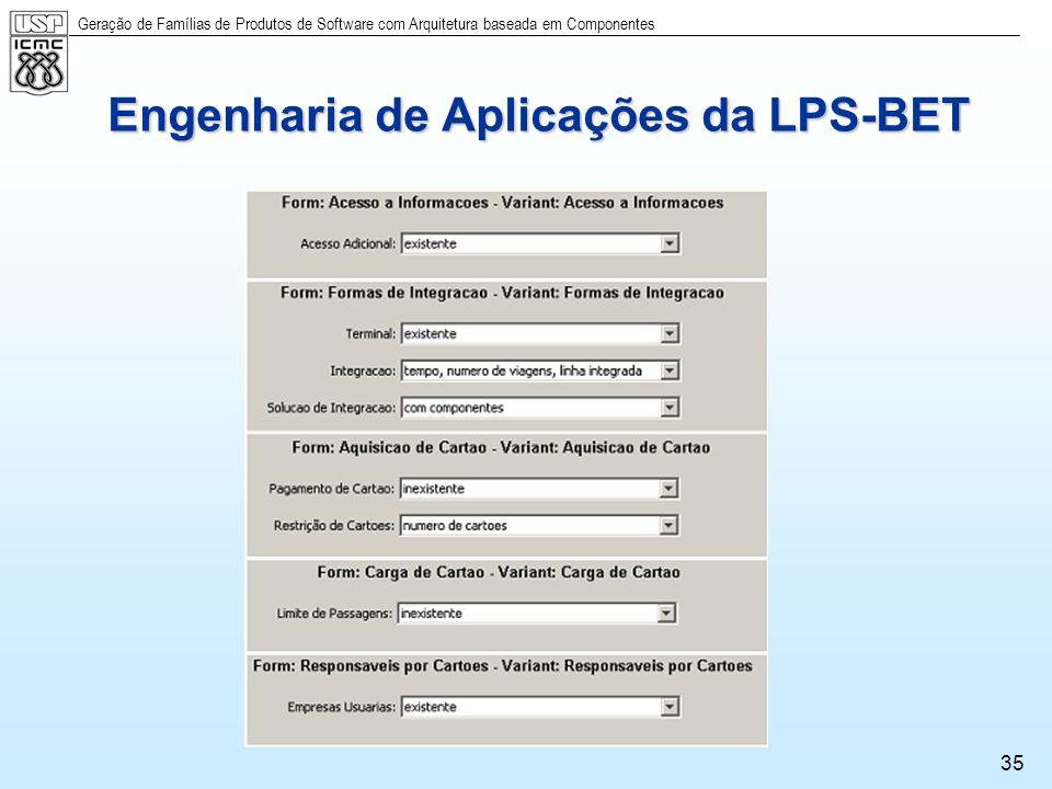 Engenharia de Aplicações da LPS-BET