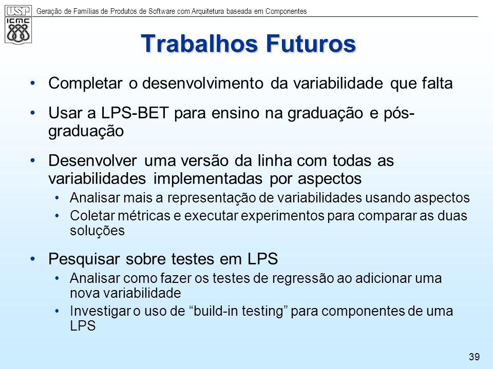 Trabalhos FuturosCompletar o desenvolvimento da variabilidade que falta. Usar a LPS-BET para ensino na graduação e pós-graduação.