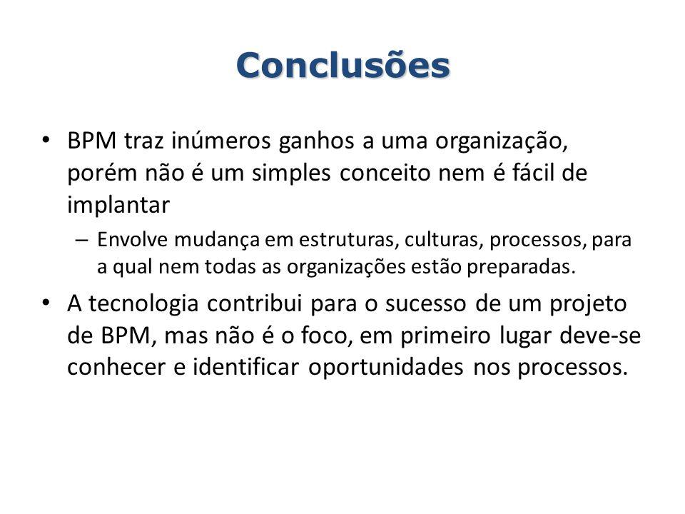 Conclusões BPM traz inúmeros ganhos a uma organização, porém não é um simples conceito nem é fácil de implantar.