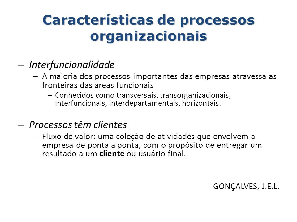 Características de processos organizacionais