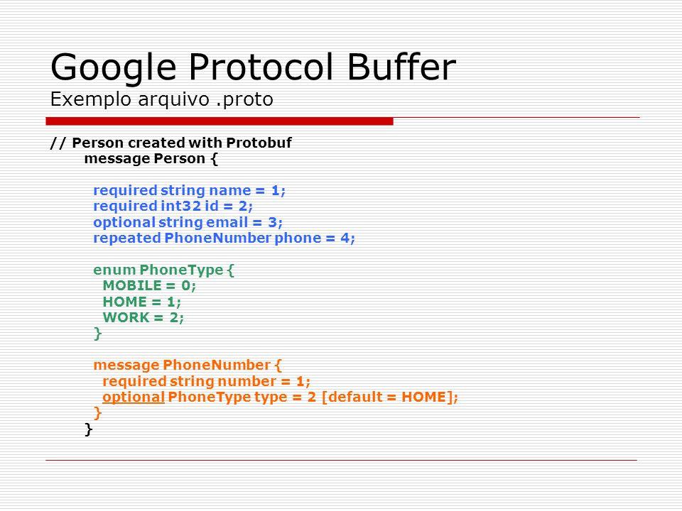 Google Protocol Buffer Exemplo arquivo .proto