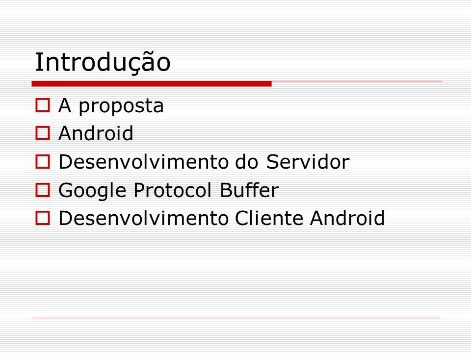 Introdução A proposta Android Desenvolvimento do Servidor