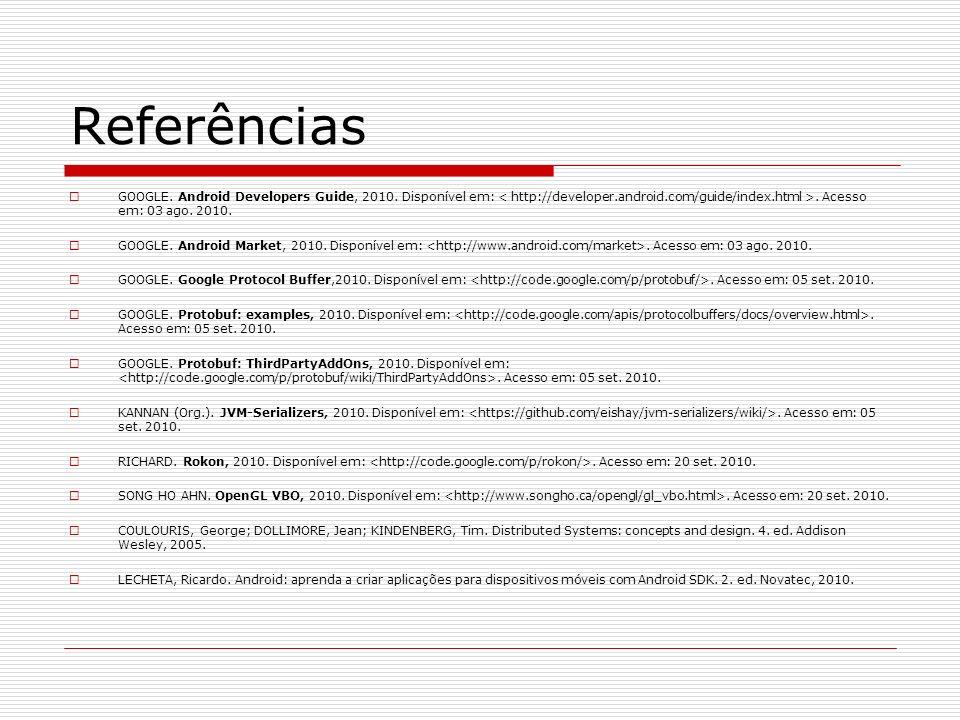 Referências GOOGLE. Android Developers Guide, 2010. Disponível em: < http://developer.android.com/guide/index.html >. Acesso em: 03 ago. 2010.