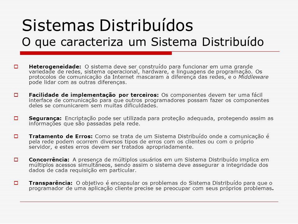 Sistemas Distribuídos O que caracteriza um Sistema Distribuído