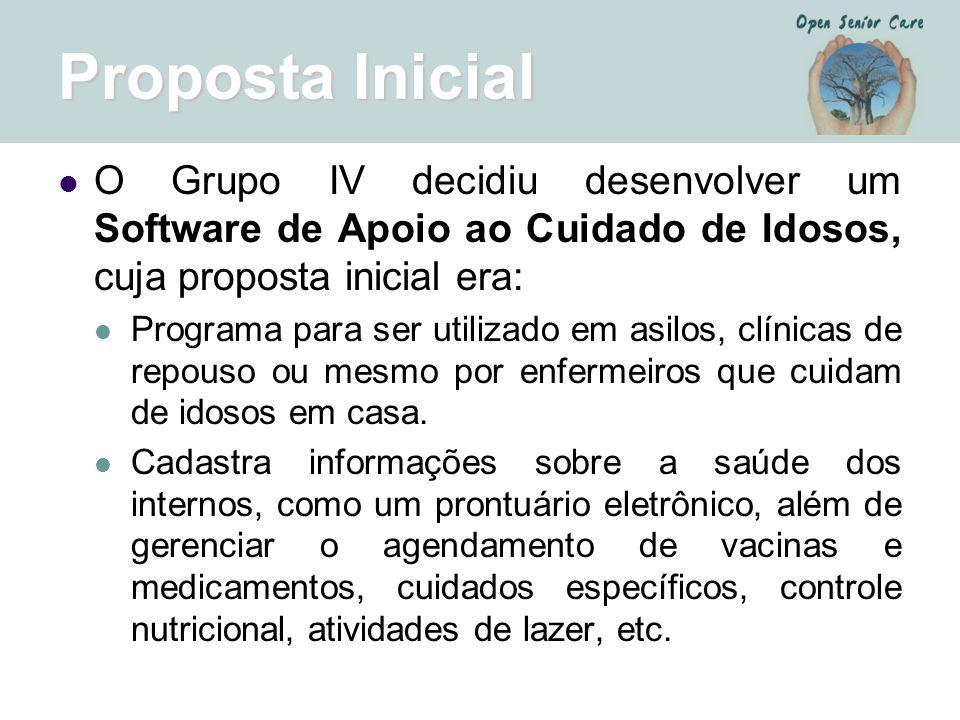 Proposta Inicial O Grupo IV decidiu desenvolver um Software de Apoio ao Cuidado de Idosos, cuja proposta inicial era: