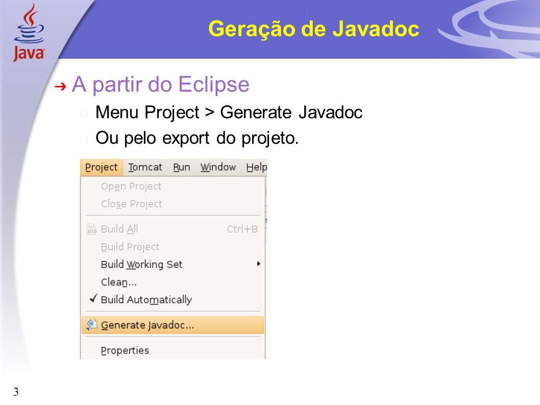 Geração de Javadoc A partir do Eclipse