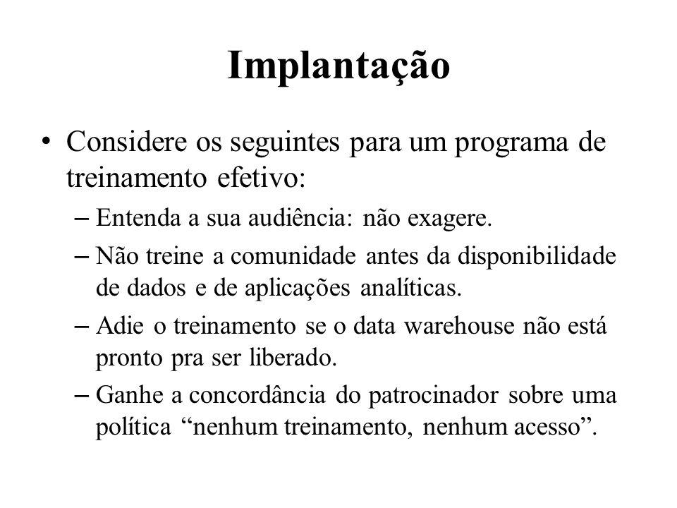Implantação Considere os seguintes para um programa de treinamento efetivo: Entenda a sua audiência: não exagere.