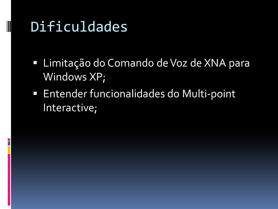 Dificuldades Limitação do Comando de Voz de XNA para Windows XP;