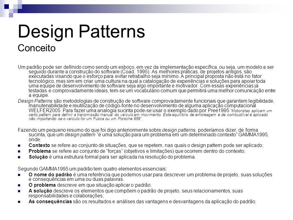 Design Patterns Conceito