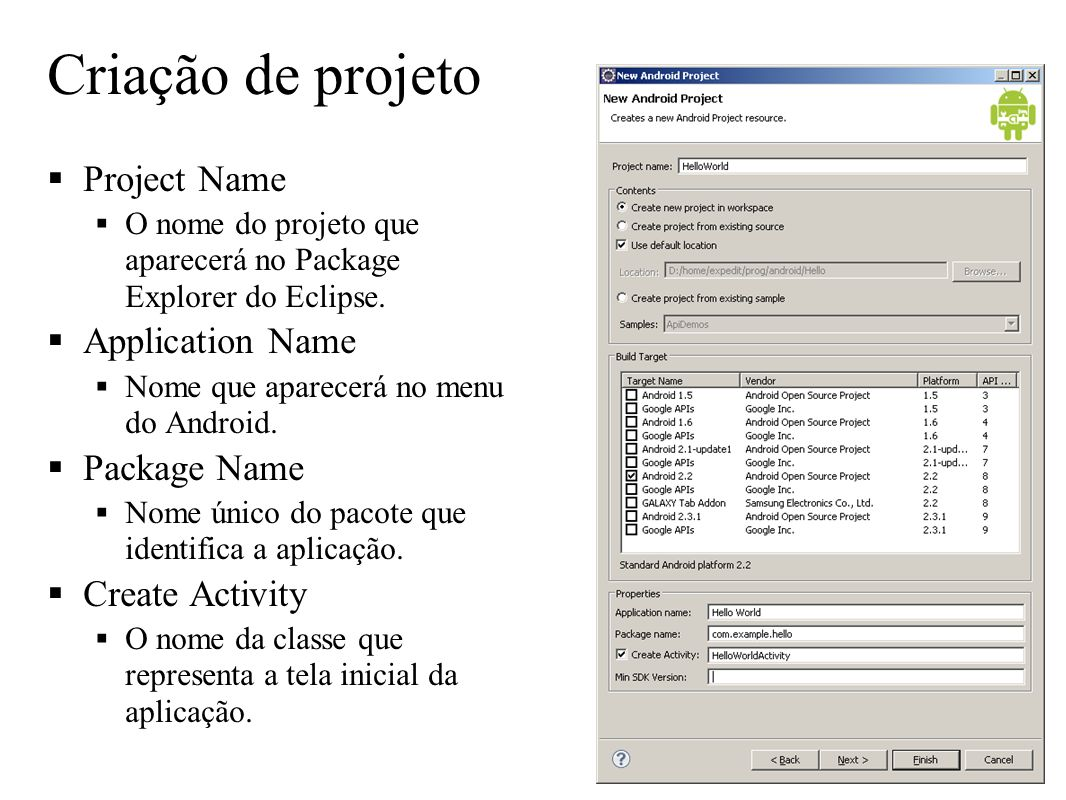 Criação de projeto Project Name Application Name Package Name
