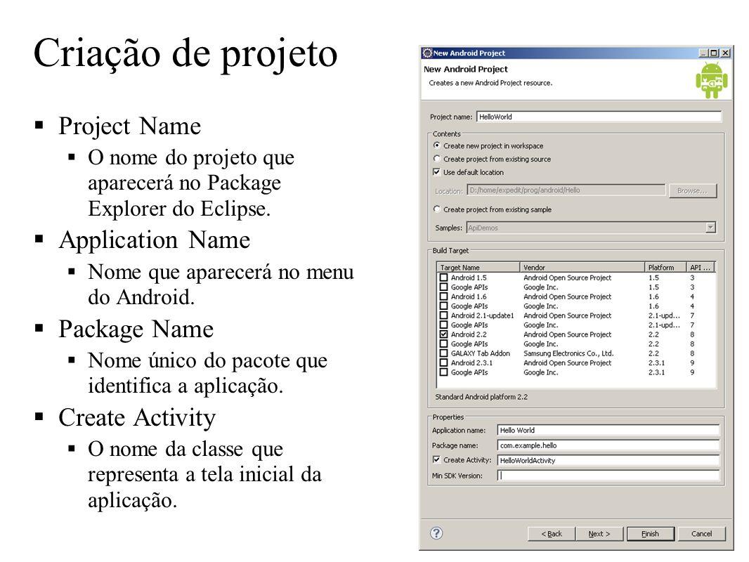 Criação de projeto Project Name Application Name Package Name