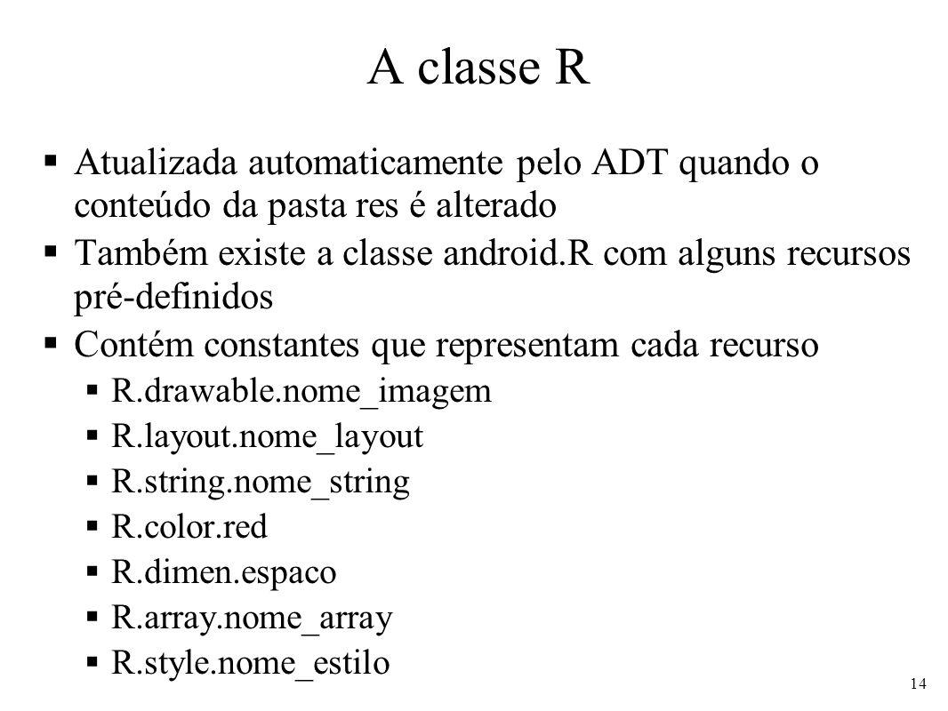 A classe R Atualizada automaticamente pelo ADT quando o conteúdo da pasta res é alterado.