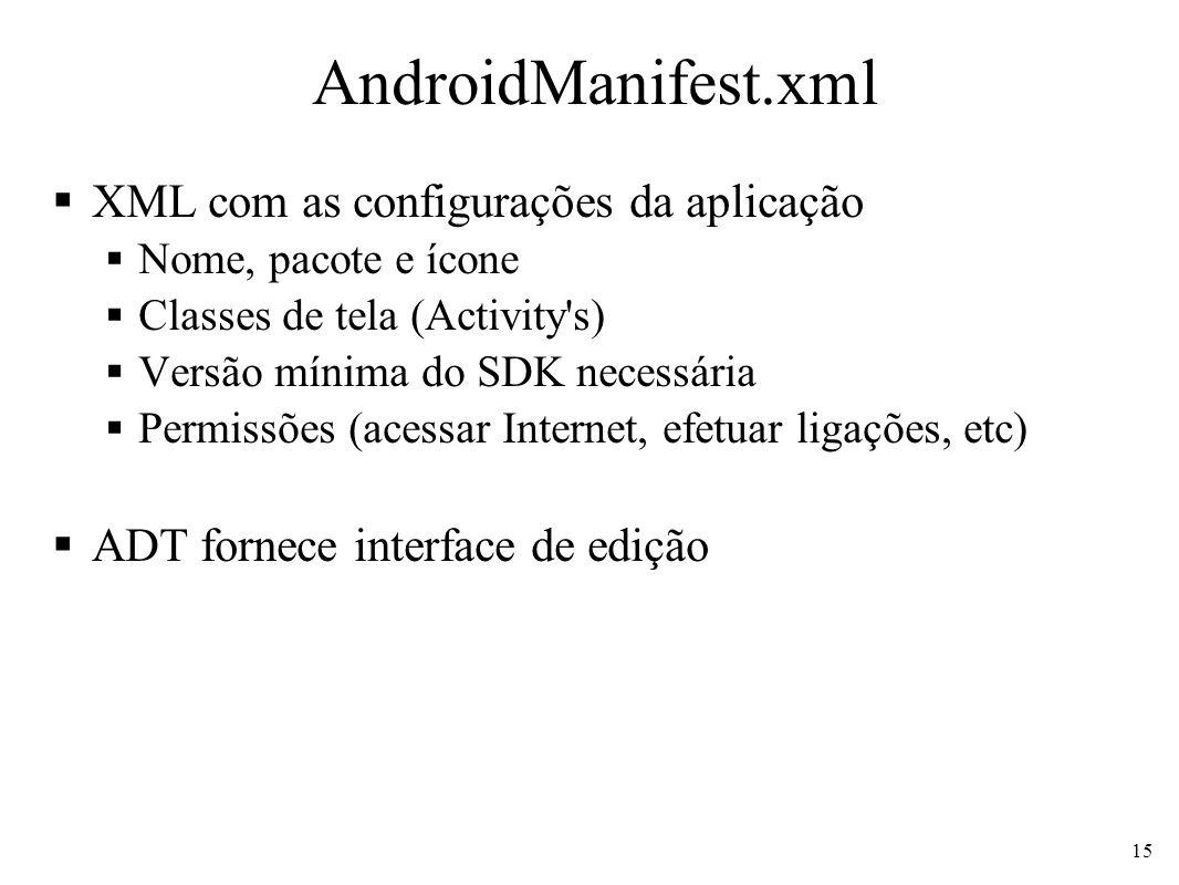 AndroidManifest.xml XML com as configurações da aplicação