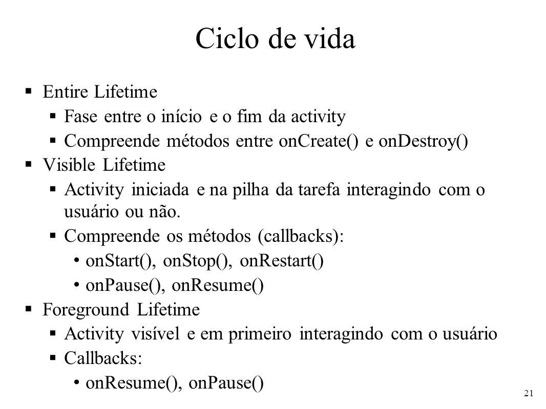 Ciclo de vida Entire Lifetime Fase entre o início e o fim da activity