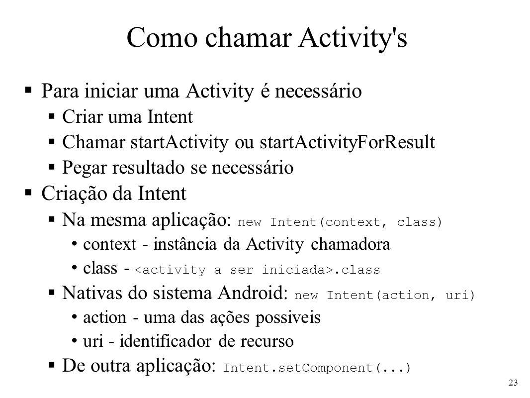Como chamar Activity s Para iniciar uma Activity é necessário
