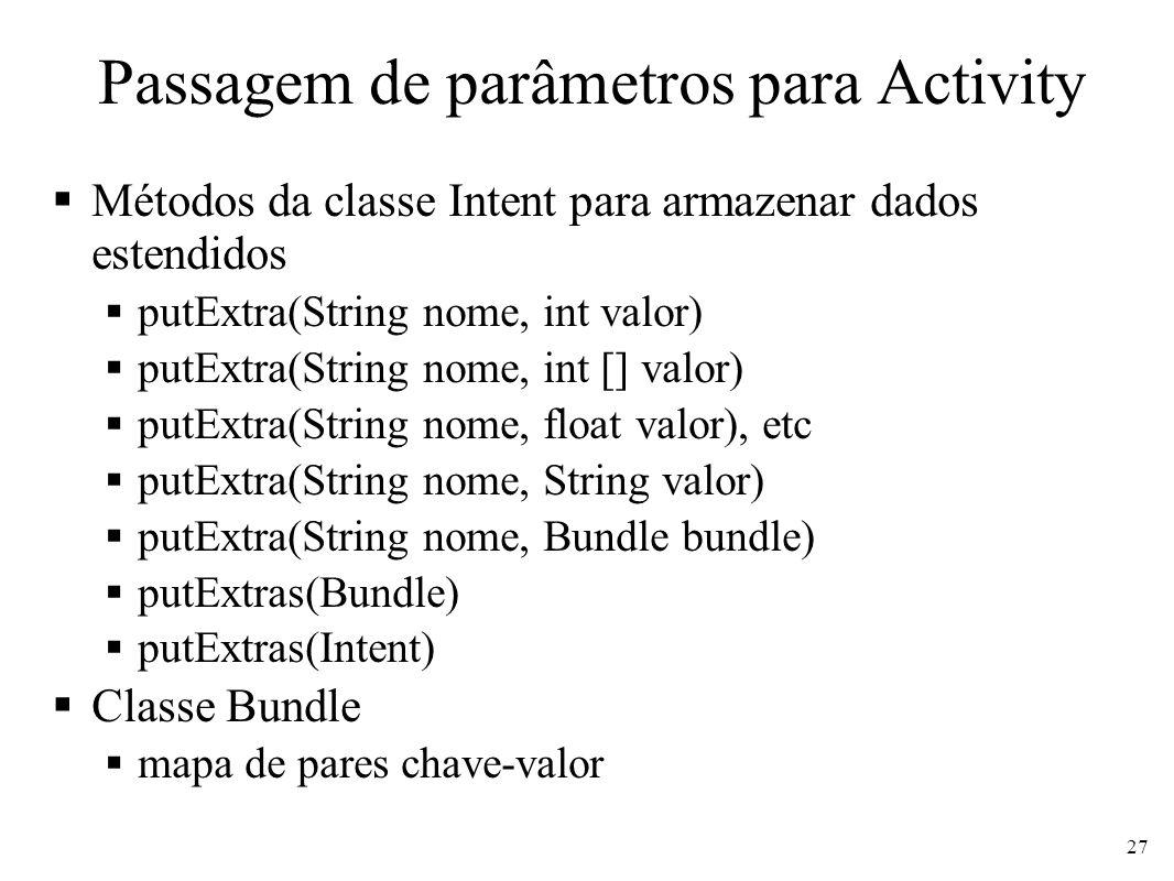 Passagem de parâmetros para Activity