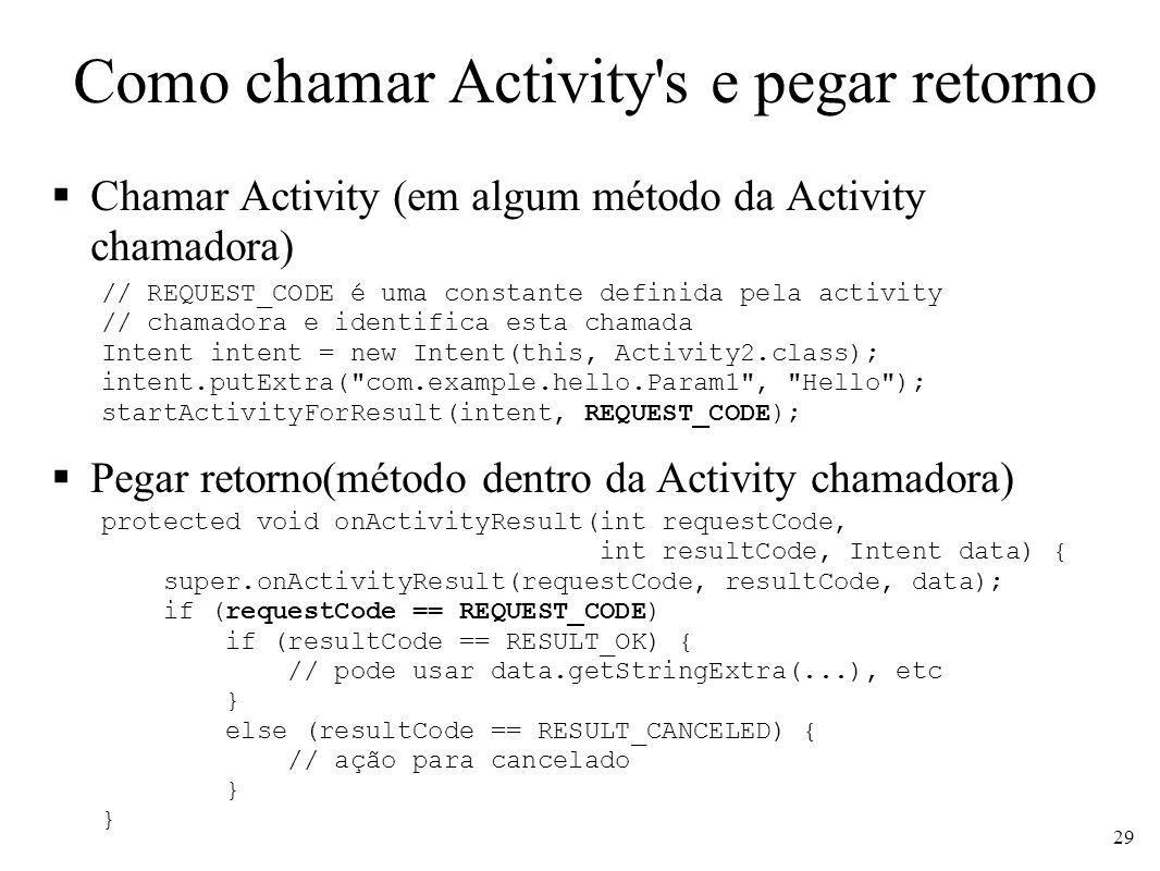 Como chamar Activity s e pegar retorno