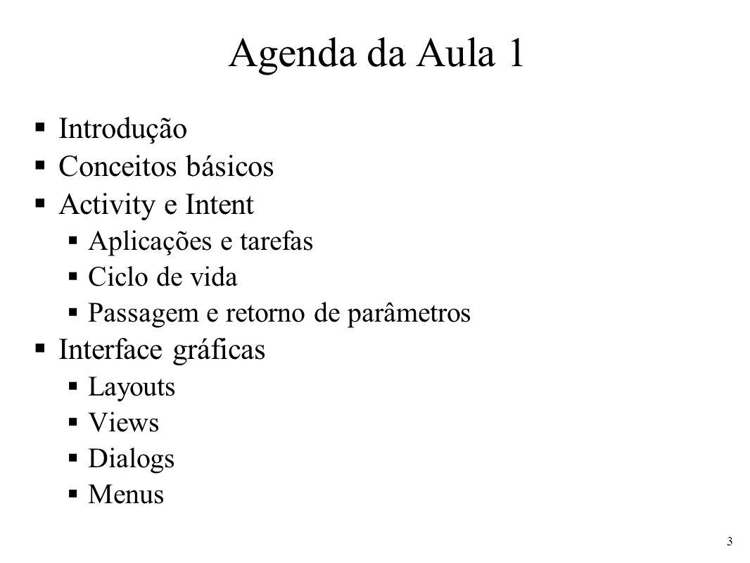 Agenda da Aula 1 Introdução Conceitos básicos Activity e Intent