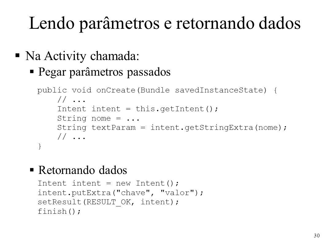 Lendo parâmetros e retornando dados