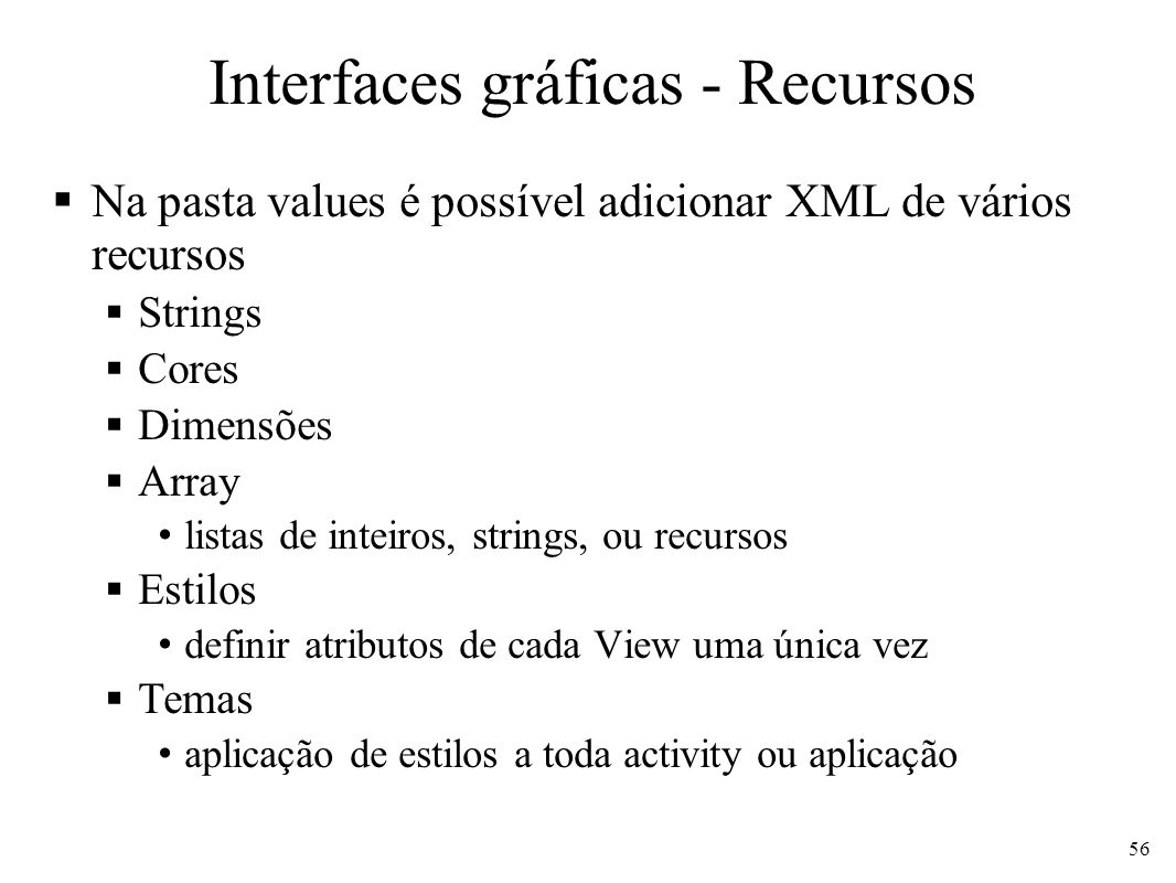 Interfaces gráficas - Recursos
