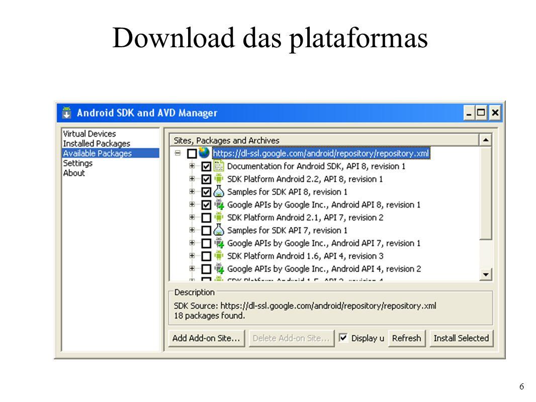 Download das plataformas