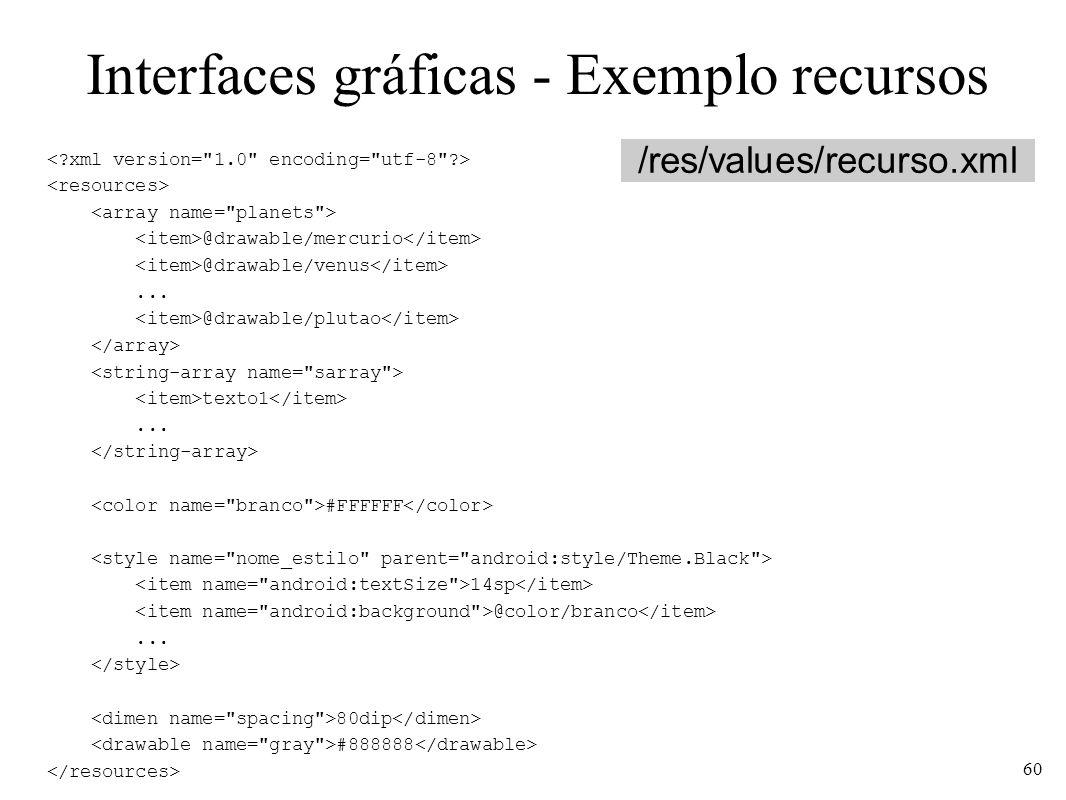 Interfaces gráficas - Exemplo recursos