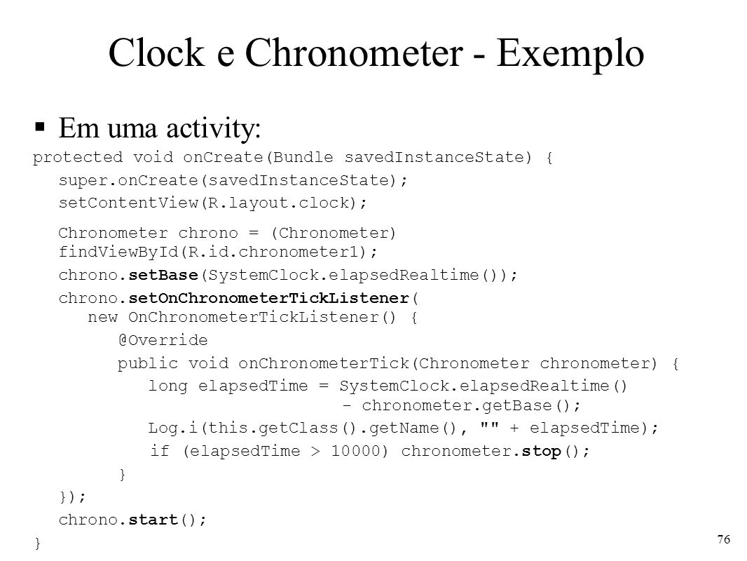 Clock e Chronometer - Exemplo