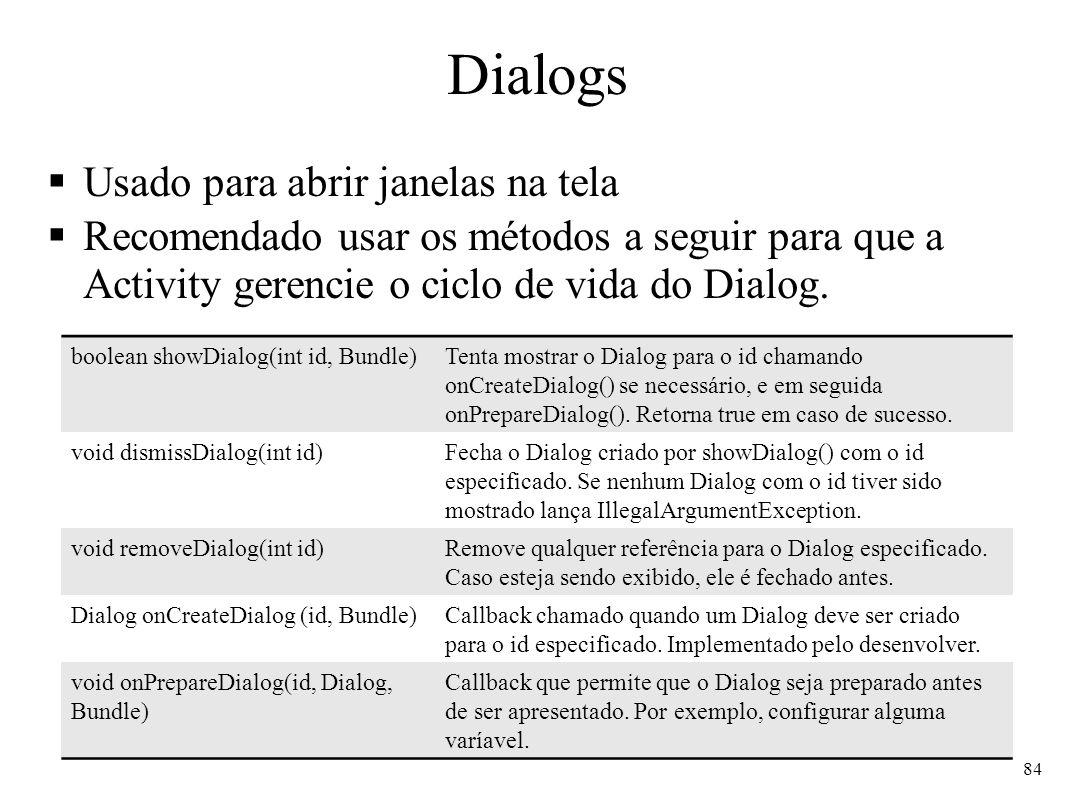 Dialogs Usado para abrir janelas na tela
